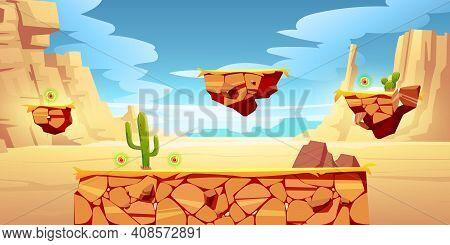 Game Platform Cartoon Desert Landscape, 2d Ui Design For Computer Or Mobile. Canyon With Green Cacti