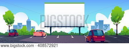 Car Street Cinema With Blank Screen. Drive-in Theater With Automobiles Stand In Open Air Parking Wit