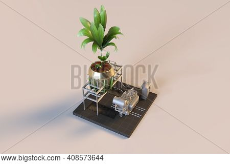Green Power Plant In Isometric View From Floor,3d Render