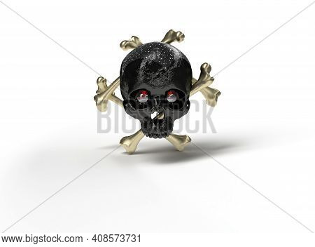 Skull With Crossbones Behind In White Background,3d Render