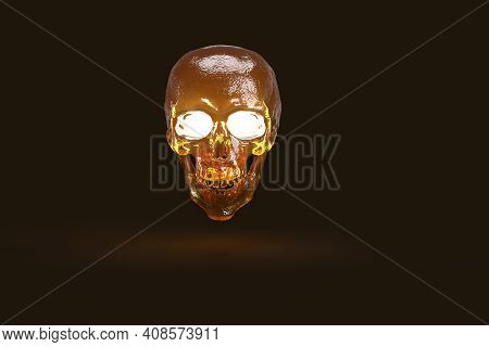 Shiny Scary Skull Glowing In Dark Background, 3d Render