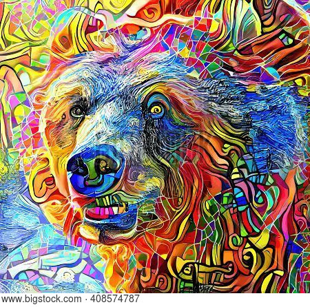 An Artistically Designed And Digitally Painted, Portrait Of A Grizzly Bear.