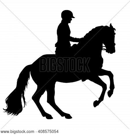 A Rider Gallops, Black Silhouette Of A Rider On A White Background