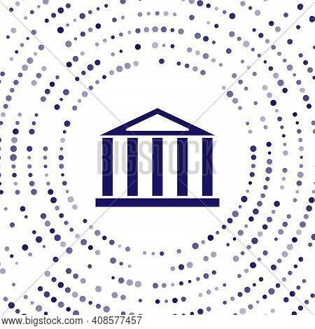 Blue Parthenon From Athens, Acropolis, Greece Icon Isolated On White Background. Greek Ancient Natio