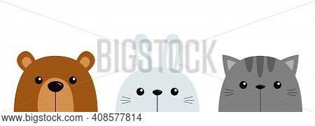 Bunny Rabbit Bear Cat Kitten Kitty Set. Cute Funny Head Face. Kawaii Cartoon Character. Happy Valent