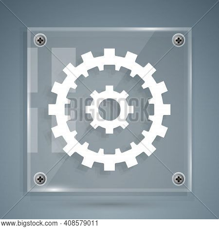 White Bicycle Cassette Mountain Bike Icon Isolated On Grey Background. Rear Bicycle Sprocket. Chainr