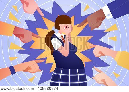 Social Problem Of Teenage Pregnancy - Vector Illustration. Pregnant Teen Girl Cry, People Point By F