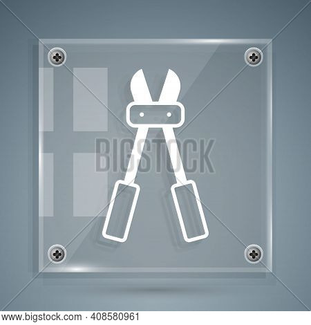 White Bolt Cutter Icon Isolated On Grey Background. Scissors For Reinforcement Bars Tool. Square Gla