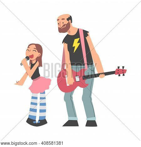 Grandpa Playing Guitar And His Granddaughter Singing, Grandparent Spending Good Time With Grandchild
