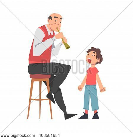 Grandpa Playing Flute To His Grandson, Grandparent Spending Good Time With Grandchild Cartoon Style