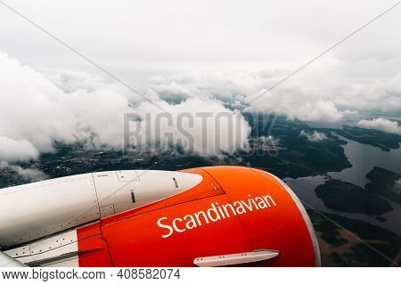 Stockholm, Sweden - August 10, 2019: Engine Of Airplane Of Sas Scandinavian Airliner Flying On Air.