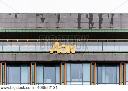 Oslo, Norway - August 10, 2019: Aon Insurance And Prrofessional Services Company Sign On Facade