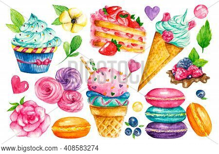 Sweet Collection. Confectionery Vector Watercolor Food. Illustrations Of Cakes, Pies, Biscuits, Ice