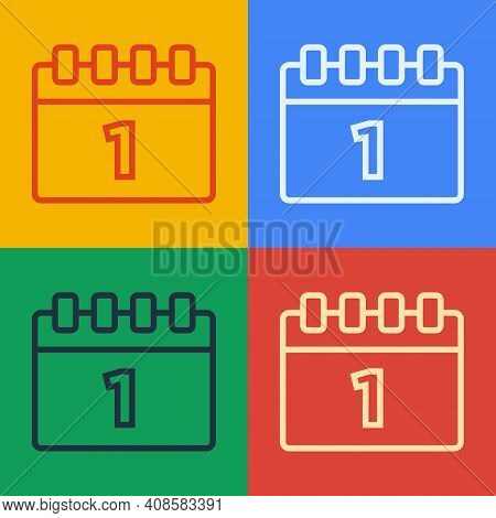 Pop Art Line Calendar With First September Date Icon Isolated On Color Background. September 1. Date