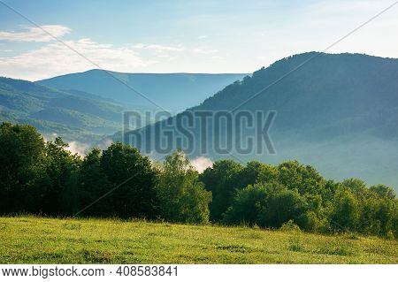 Mountain Meadow In Morning Light. Countryside Springtime Landscape With Valley In Fog Behind The For