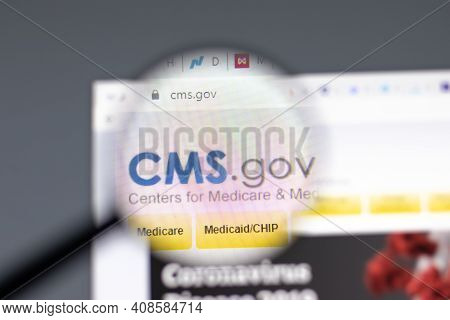 New York, Usa - 15 February 2021: Cms Centers For Medicare Website In Browser With Company Logo, Ill