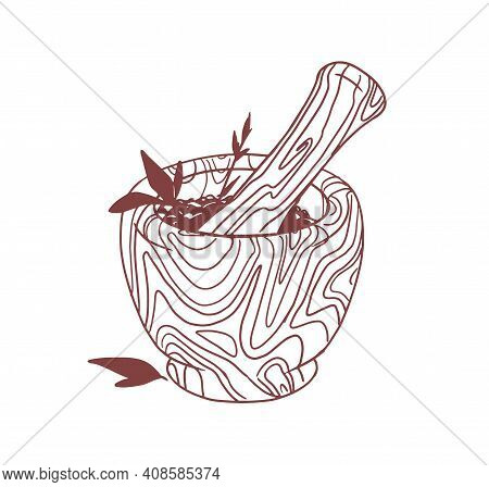 Mortar And Pestle Set For Mixing Herbs And . Grinding Fresh Seasonings In Bowl. Vector Illustration