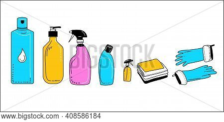 Various Hand Drawn Detergents And Bottles With Soap.washing Supplies For Floor,windows And Dust Remo