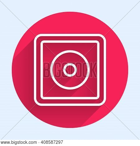 White Line Billiard Chalk Icon Isolated With Long Shadow. Chalk Block For Billiard Cue. Red Circle B