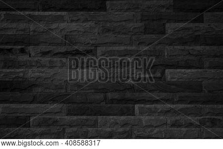 Wall Dark Brick Wall Texture Background. Brickwork Or Stonework Flooring Interior Rock Old Pattern C