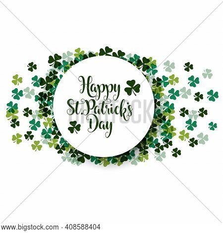 St. Patrick Day Poster. Clover Design Elements With Wishing Lettering Decoration. Vector Illustratio
