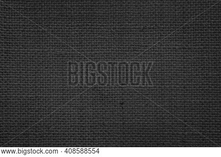 Jute Hessian Sackcloth Canvas Woven Texture Pattern Background In Light Black Color Blank Empty.