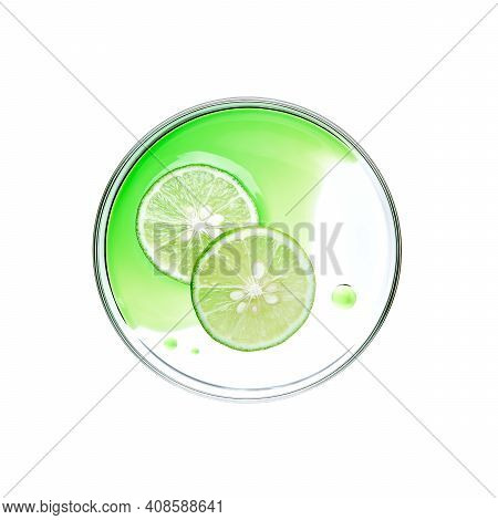 Sliced Lime With Essence On Petri Dish Over White Background