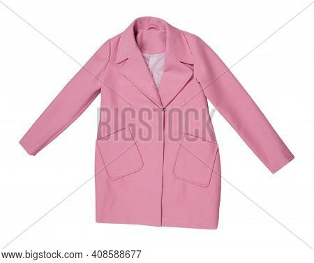 Pink Wool Female Coat Isolated On White, Female Stylish Pink Coat Over White Background