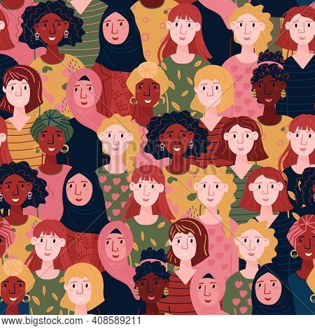 Feminism Pattern. Happy Woman Day Seamless Illustration. Multinational Women Faces . Set Of Females