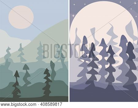 Day In The Woods And Fog In The Night Forest