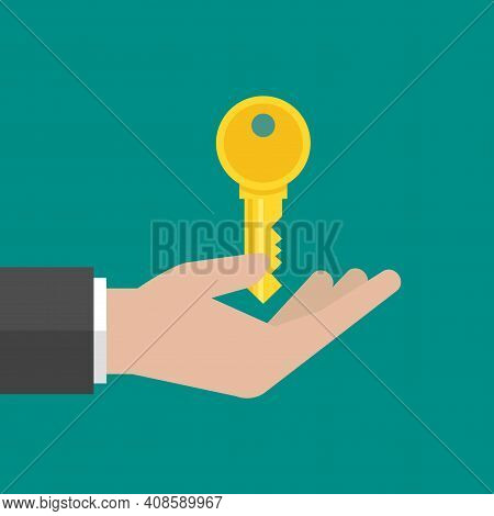Businessman Holds Gold Key. Hand With Key On Turquoise Background. Vector Flat Illustration. Idea, S