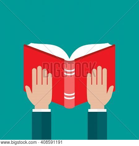 Businessman Hands Hold Red Open Book Isolated On Blue. Flat Reading Icon. Vector Illustration. Educa