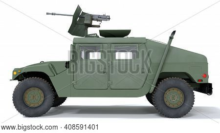 Us Military Armored All Terrain Vehicle Hmmwv. Isolated Background. 3d Rendering.