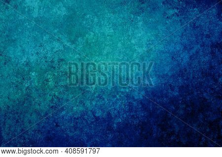 Blue Purple Green Turquoise Antique Old Background With Blur, Gradient And Watercolor Texture. Space