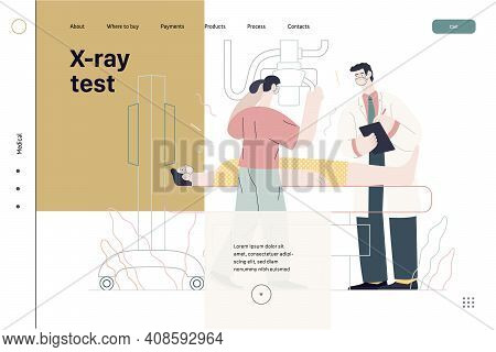 Medical Tests Template - X-ray Test - Modern Flat Vector Concept Digital Illustration Of X-ray Proce