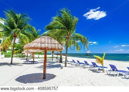 Cancun, Mexico - Tropical Landscape With Coconut Palm Trees Caribbean Beach Yucatan Peninsula In Cen