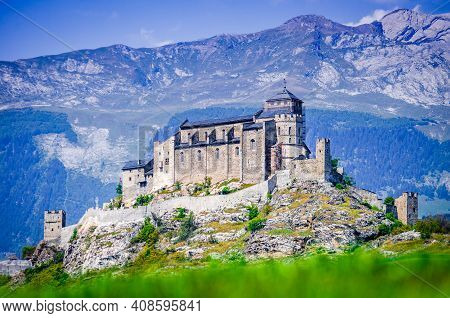 Sion, Switzerland. Notre-dame De Valere, Fortified Church In Canton Of Valais, Swiss Medieval Landma