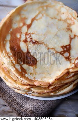 A Stack Of Pancakes On A Plate. Pancakes For Shrovetide.