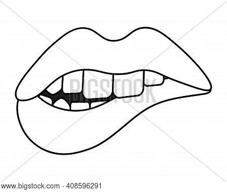 Bite Your Lip. Sketch. Seductive Mouth. Vector Illustration. Coloring Book For Children. Valentines