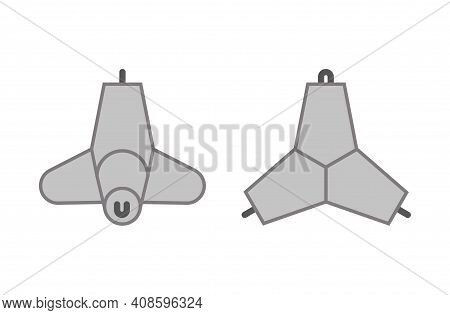 Two Projections Of Concrete Tetrapod. Vector Isolated On White.