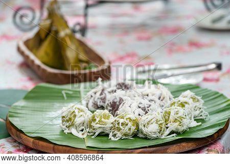 Coconut Dumplings (kanom Tom) And Sweet Stuffed Dough (kanom Sai Sai), Thai Traditional Sweet Desser