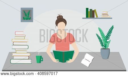 Girl Reading Book At The Table With Plant, Cup, Notes, Vector Illustration. A  Lot Of Books, Learnin
