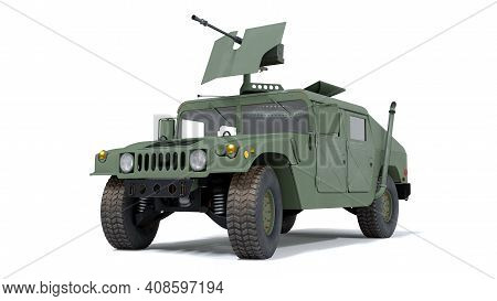 Us Military Armored All Terrain Vehicle Hmmwv. 3d Rendering. Isolated Background.