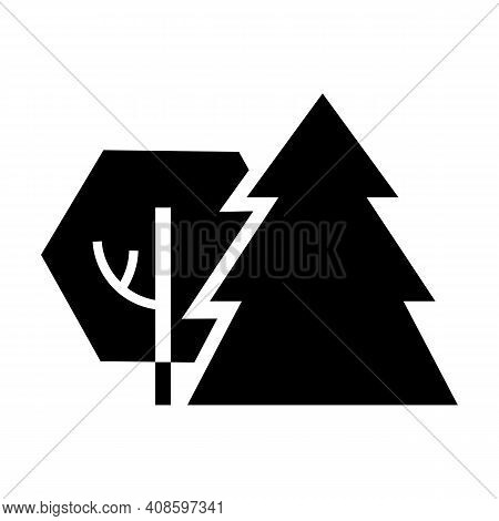 Deciduous And Coniferous Forest. Nature, Forest Icon.