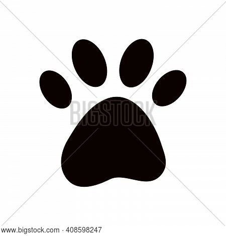 Dog Or Cat Pet Paw Flat Logo Icon Silhouette. Simple Black Vector Illustration Isolated On White Bac