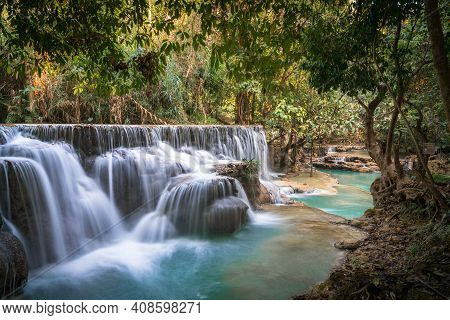 Kwang Si Waterfall Long Exposure Turquoise Water Forest Background