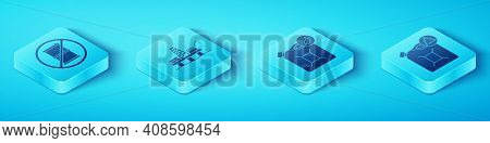 Set Isometric No Barrel For Gasoline, Oil Platform In The Sea, Eco Fuel Canister And Bio Fuel Canist