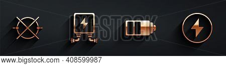 Set Electric Circuit Scheme, Electric Transformer, Battery Charge Level Indicator And Lightning Bolt