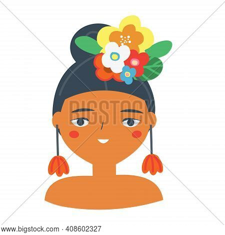 Beautiful Woman With Tropic Flowers In Hair. Smiling Female. Cartoon Mexican Style Girl Vector Illus