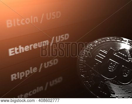 List Of Cryptocurrencies On A Black Monitor Background.